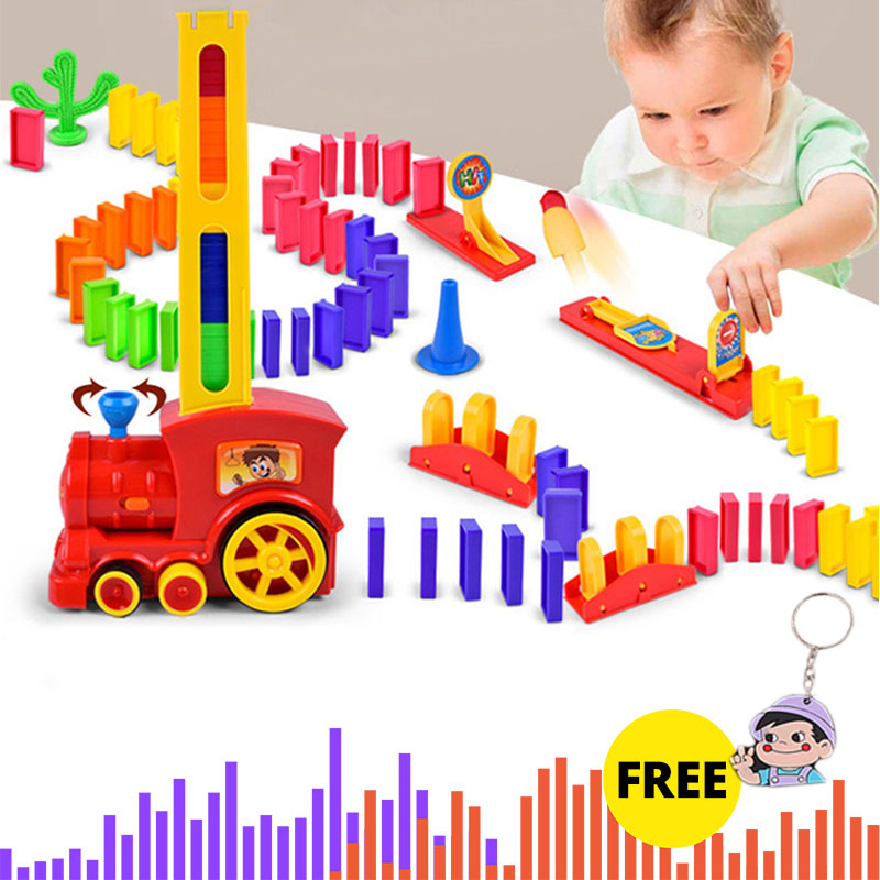 60pcs Electric Domino Car Train Vehicle Model Automatic Set Up Colorful Plastic Dominoes Toys Christmas Gift Game For Boy Kid