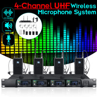Portable 4 Channel UHF Stereo Wireless Lavalier Lapel Monitor System Digital Stage In Ear Monitor System for Stage Performance