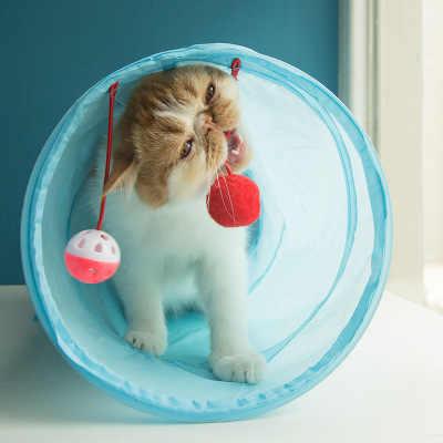 고양이 터널 장난감 재미 있은 애완 동물 2 구멍 놀이 튜브 공 Collapsible Crinkle 새끼 고양이 장난감 강아지 흰 족제비 토끼 놀이 개 터널 튜브