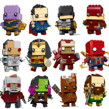 New Brickheadz Figures Legoinglys Super Hero DC Justice League Brick Heads Iron Man Spider Man Building Blocks Kids Toys(China)