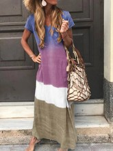Summer Plus Size Gradient Color Maxi Dress Casual Patchwork Cotton Linen Women Vintage Beach