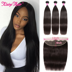 Image 1 - Klaiyi Peruvian Straight Hair 13*4 Lace Frontal Closure With Bundles Remy Human Hair 3 Bundles With Frontal Closure