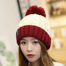 Women's autumn and winter wool hat outdoor plus velvet thick warm hat letter 2019 new women's ear protection ball knit cap lowest price free shipping promotion new oversized hair ball knit wool cap blending knitted hat ear warm hat ms