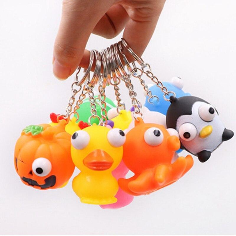 Eye Popping Squeeze Toys Cartoon Animal Keychain Anti Stress Fidget Hand Toy For Kids Gifts Randoms