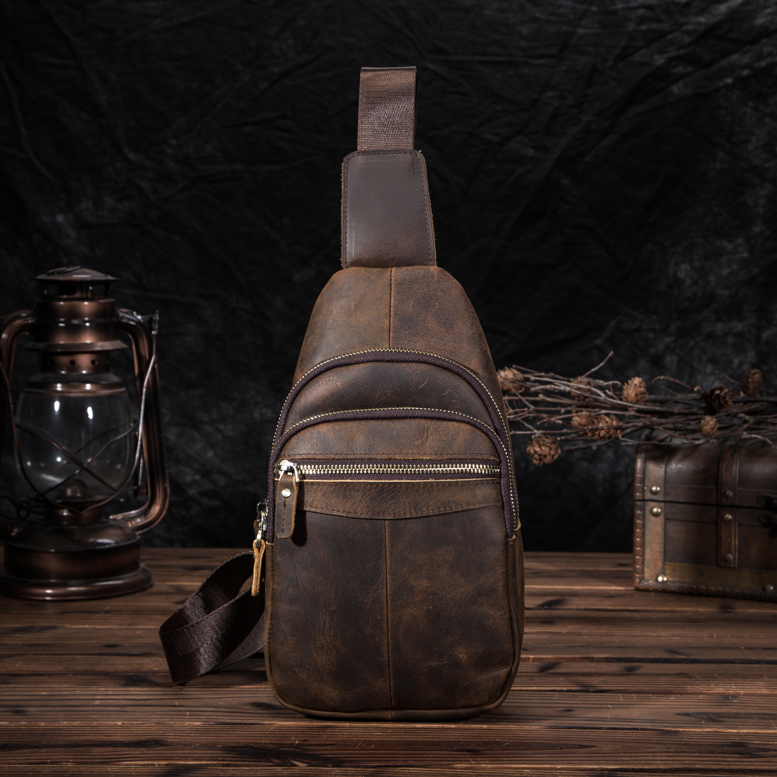 Men Quality Leather Casual Fashion Chest Sling Bag 8