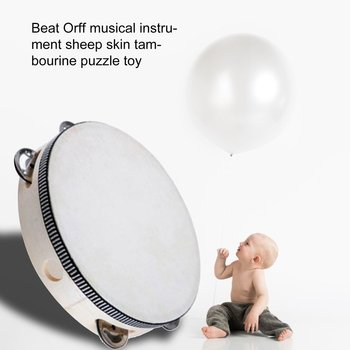 Percussion Instrument Orff Instrument Parent-child Teaching Aids Wood Color Tambourine Children's Educational Toy