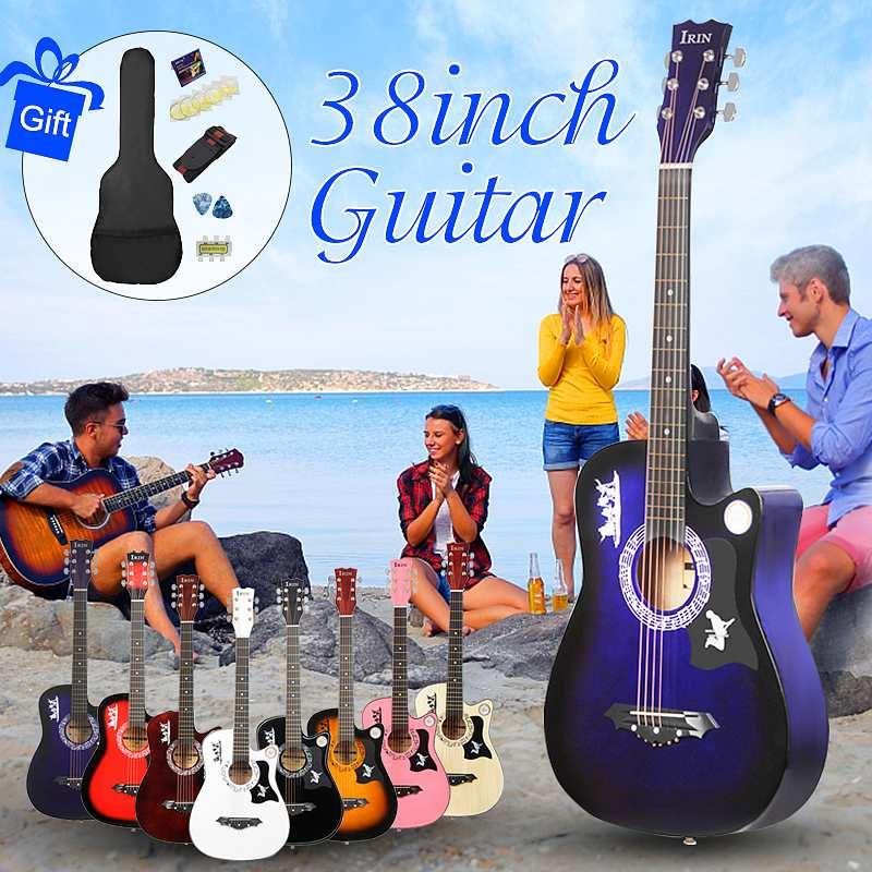 Guitare acoustique pour débutants de 38 pouces avec étui de guitare Stra accordeur Pick cordes en acier guitare Instruments de musique