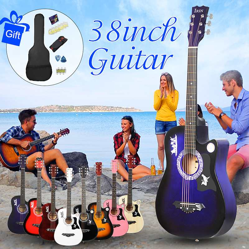 38 Inch Beginners Acoustic Guitar with Guitar Case Stra Tuner Pick Steel Strings Guitar Musical Instruments image