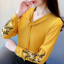 2019 new Fashion Woman Blouses Long Sleeve Chiffon Women Blouse Shirt Office Lady Tops Blusas Red Ol