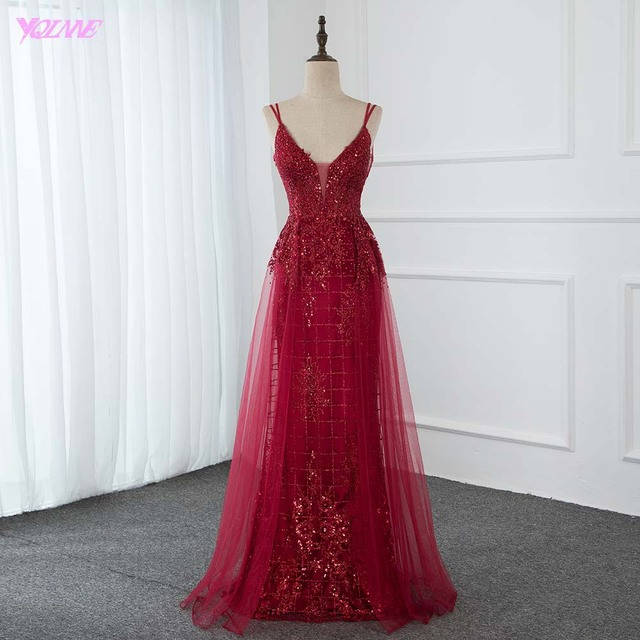 Sexy Red Bling Long Evening Party Gown Dresses Crystals Beaded Deep V Neck Tulle Backless Fashion Dress YQLNNE