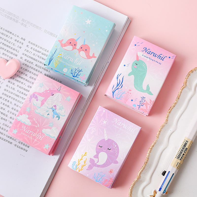 1  Set/lot Memo Pads Sticky Notes Narwhal Diary Scrapbooking Stickers Office School Stationery Notepad