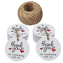 100PCS white Thank You for Celebrating with Us Tag Kraft Hang Paper Gift Tags Jute String school stationery supply