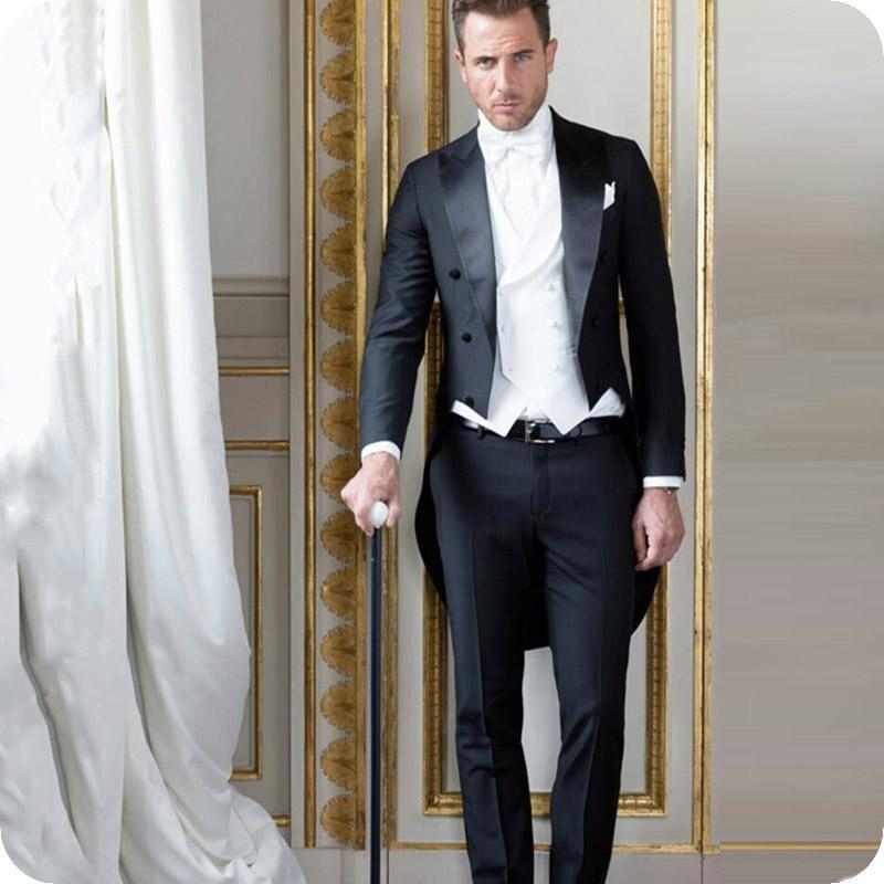 Black Tailcoat Men Suits Groom Wedding Tuxedos Formal Party Groom Wear 3Piece Vintage Costume Homme Terno(coat+pant+white Vest)