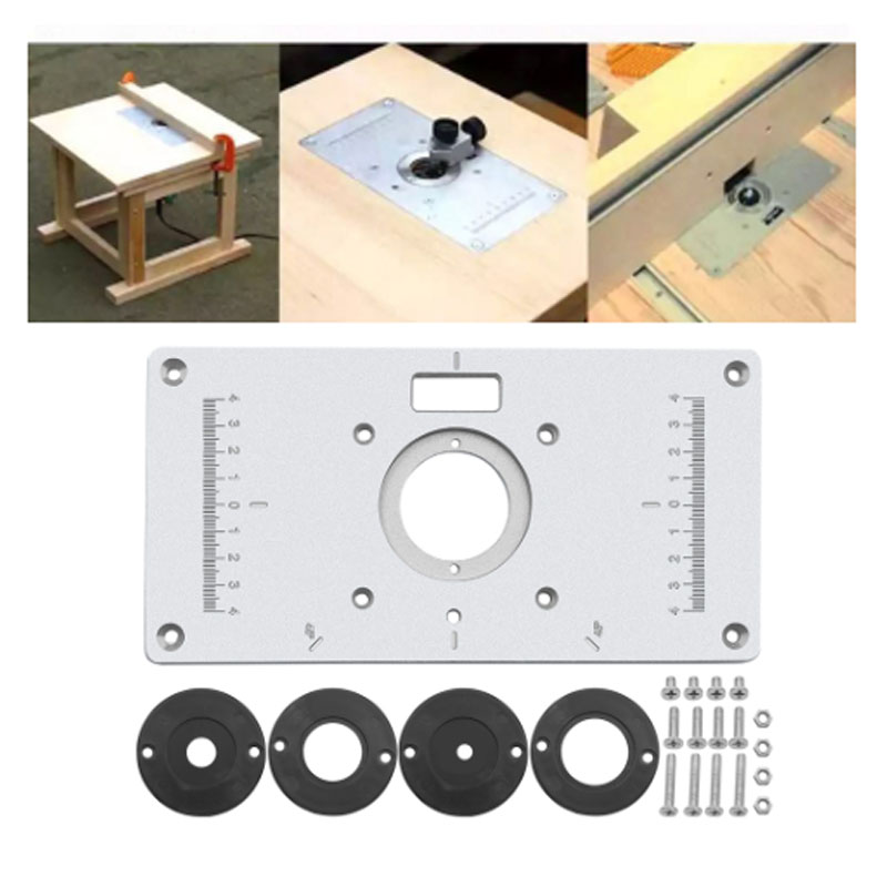 Router Table Insert Plate Woodworking Benches Engraving Machine w//4 Rings Tool
