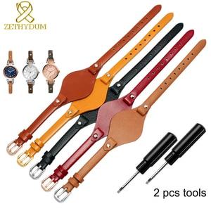 Image 2 - עור אמיתי צמיד רצועת נשים רצועת השעון קטן חגורת 8mm עבור מאובנים ES4176 ES4119 ES4026 3262 3077 שעון להקת עם מחצלת