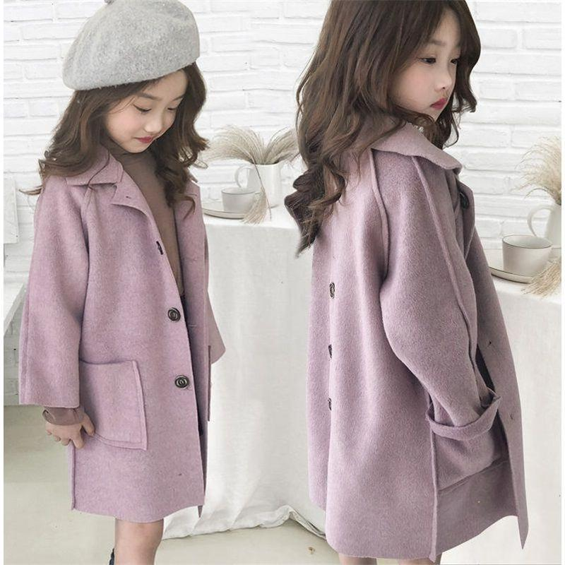 Kids Wool Coat Thick Girl Snowsuit Winter Jackets For Girls Outwear Baby Jackets Girls Blends Toddler Fur Coats Children Clothes