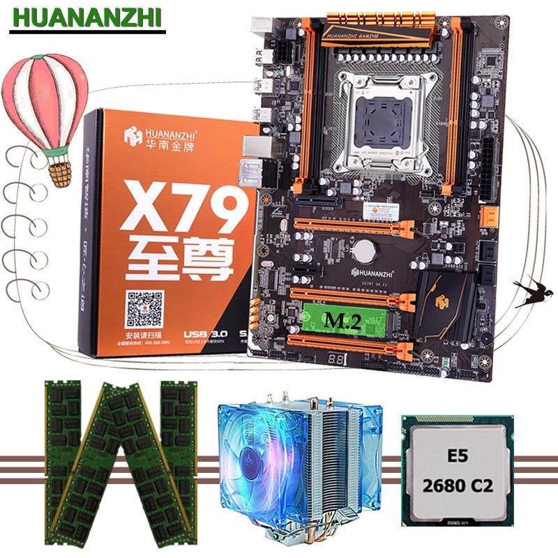 HUANANZHI deluxe X79 LGA2011 carte mère CPU RAM combos ensemble Xeon E5 2680 C2 RAM 64G (4*16G) DDR3 1333MHz RECC avec refroidisseur de processeur