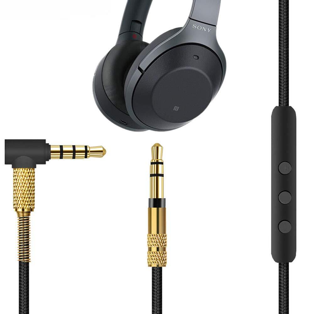 Microfone cabo de áudio para sony WH-1000XM3/beats solo 3/b & o h9i fones de ouvido 4.9 polegadas, aux 3.5mm-3.5mm masculino para homem (preto + ouro)