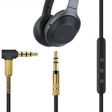 สายไมโครโฟนเสียงสำหรับ Sony WH 1000XM3/Beats Solo 3/B & O H9i หูฟัง 4.9 นิ้ว, AUX 3.5 มม. 3.5 มม.ชาย (สีดำ + ทอง)