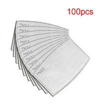 Masque de protection facial pm 2.5, 5 couches, avec filtre en papier, réutilisable, anti-poussière, soins de santé, 100 pièces