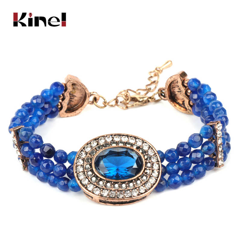 Kinel Luxury Boho Blue Natural Stone Bracelet For Women Antique Gold Hand Made Crystal Retro Ethnic Wedding Jewelry 2019 New
