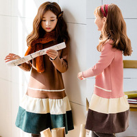 Velvet Warm 2019 Autumn Winter Teenage Girls Dress Kids Pink Brown Patchwork Dresses Baby Kids Dresses For Girls Fashion Hoodie