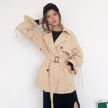 woman coat spring Early autumn large size wild casual lapel classic British double-breasted belt small windbreaker