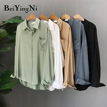 Blouses Tops Long-Sleeve Harajuku Ladies Shirts Womens Blusas Vintage Female Pocket Beiyingni