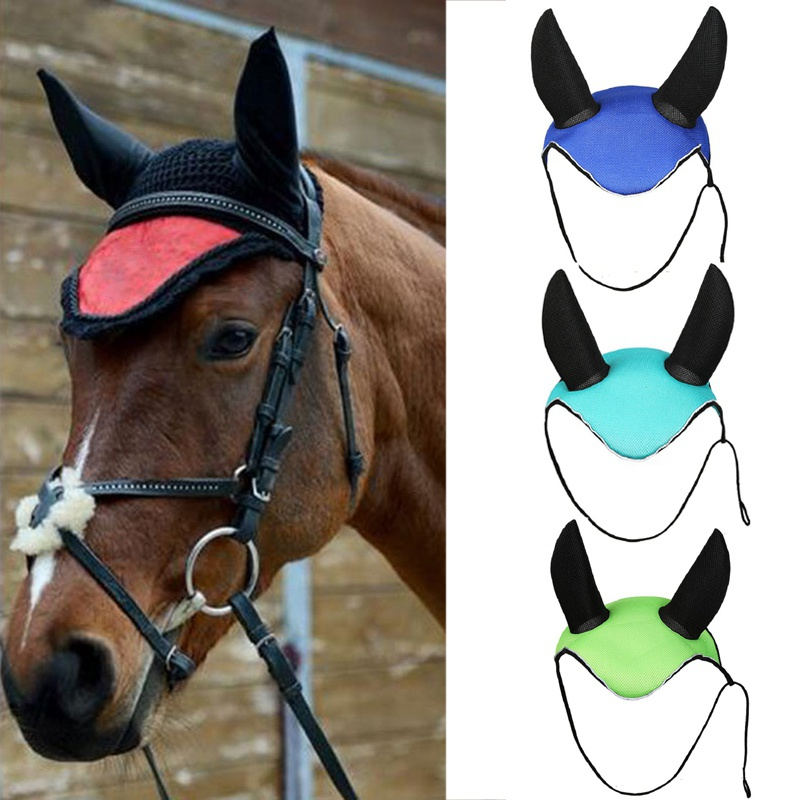 Horse Ear Cover Equestrian Horse Riding Breathable Meshed Horse Fly Mask Bonnet Net Ear Masks Protector