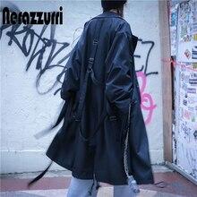 Nerazzurri Oversized black long trench coat for women long sleeve drop shoulder