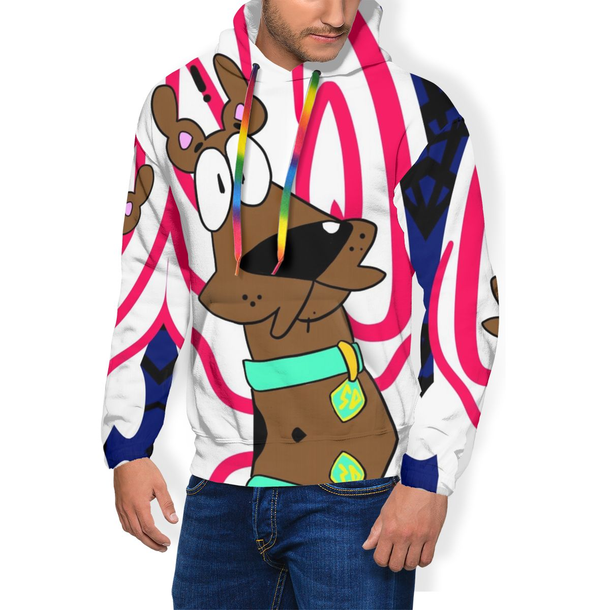 Scooby Hoodie Scoobert Doo Hoodies Loose Fashion Pullover Hoodie Autumn Polyester Mens White XXX Hoodies