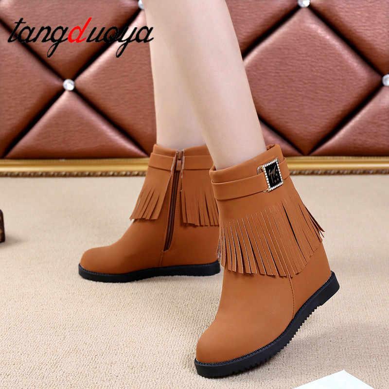 ใหม่ Wedge รองเท้าผู้หญิงมาถึงข้อเท้าบู๊ทส์ฝูงพู่ lace up wedges แพลตฟอร์มรองเท้าแฟชั่นฤดูใบไม้ร่วงผู้หญิง elegant รองเท้า