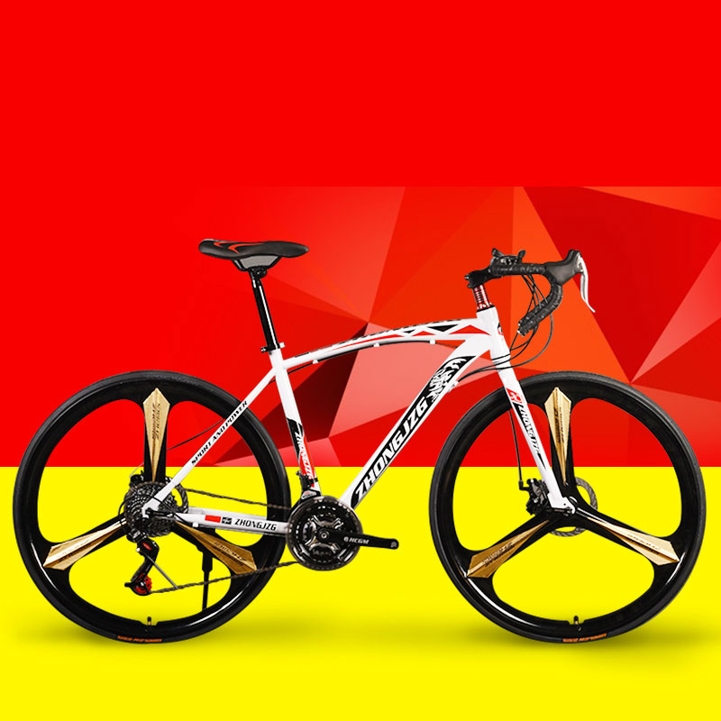 Bicycle Road Bike Fixed Gear Shifting Double Disc Brakes Adult Bending Steel Men And Women Muscle Frame