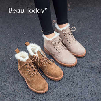BeauToday Wool Snow Boots Women Genuine Leather Round Toe Lace-Up Platform Winter Ladies Ankle Length Shoes Handmade 03281 - DISCOUNT ITEM  48% OFF All Category