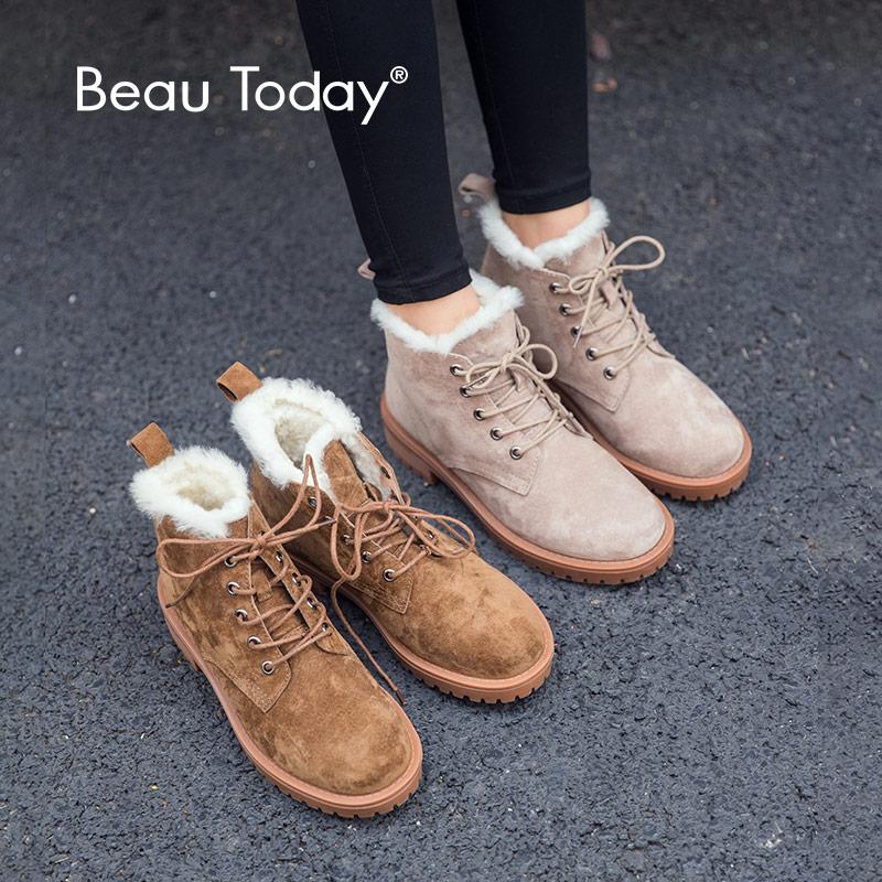 BeauToday laine neige bottes femmes en cuir véritable bout rond à lacets plate forme hiver dames cheville longueur chaussures à la main 03281
