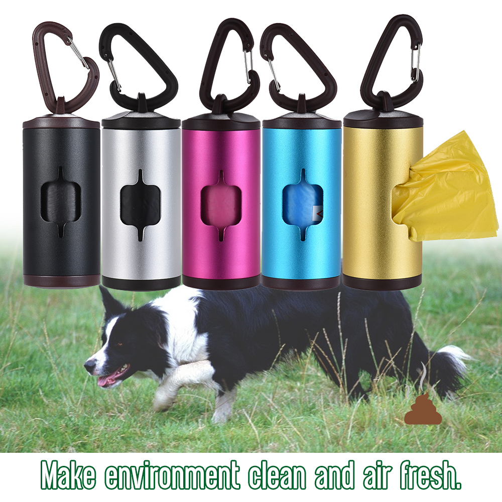 Dog Waste Dispenser Pet Poop Holder Dog Waste Dispenser Aluminum Tube Includes 15pcs Waste Bags Refillable Pet Outdoor Supplies