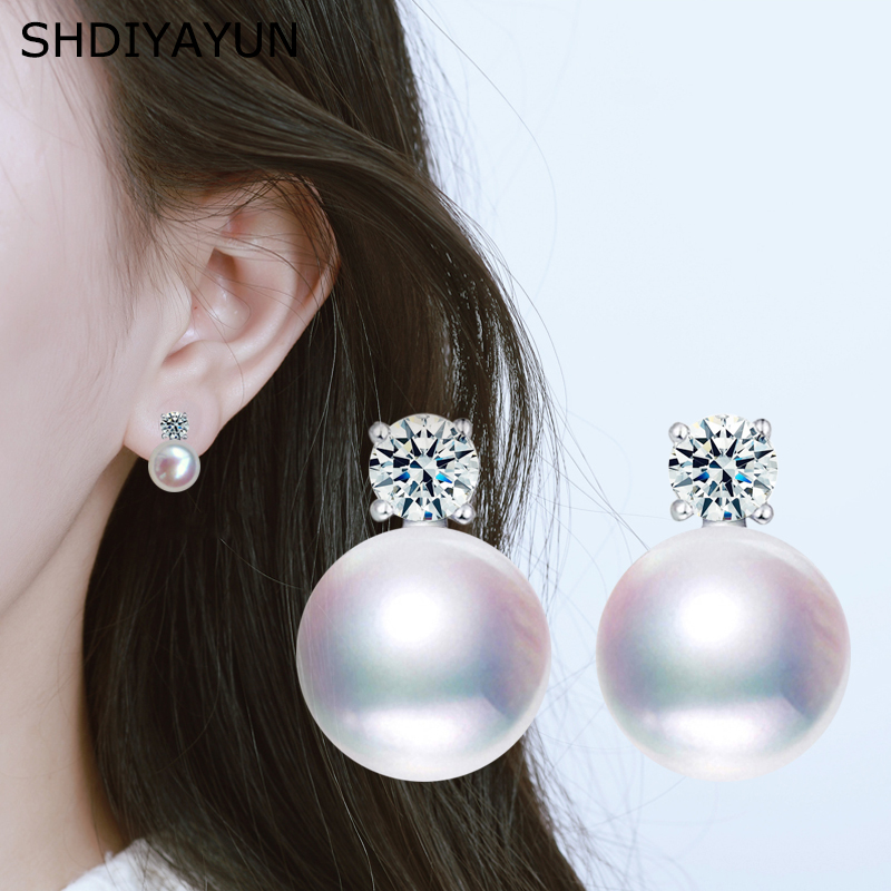 SHDIYAYUN Fine Pearl Earrings For Women Freshwater Pearl Princess Style Silver Stud Earring Wedding Jewelry Diamond Earrings