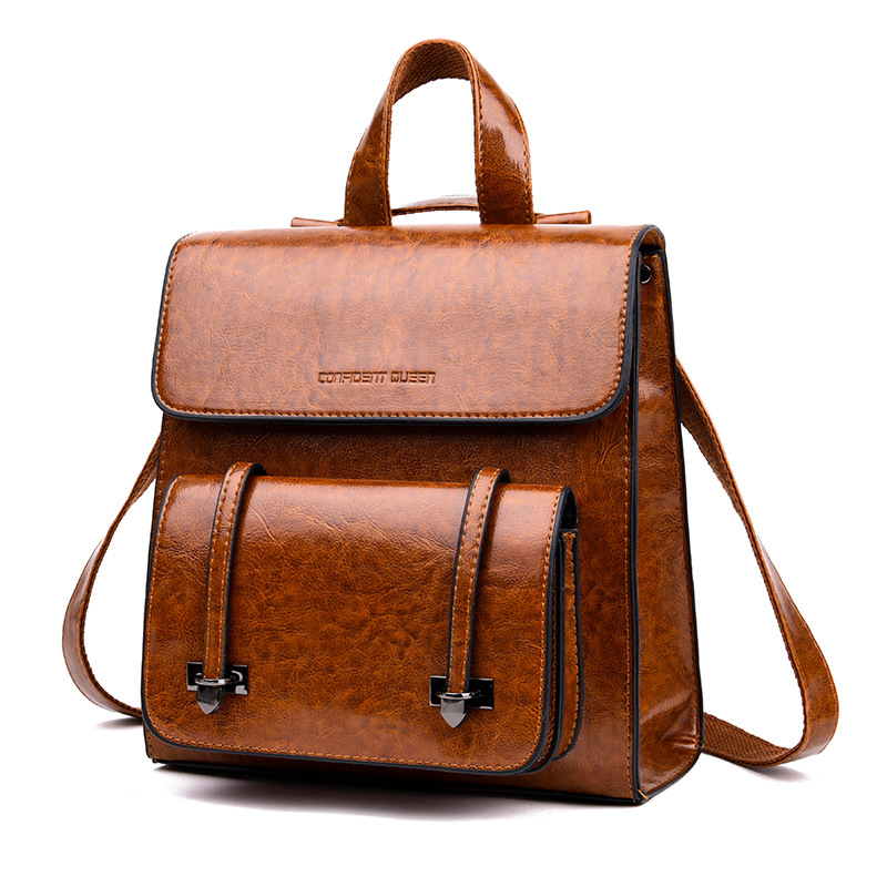 2018 Spring And Summer New Style Korean-style Retro Oil Skin Backpack Student School Bag-WOMEN'S Travel Backpack