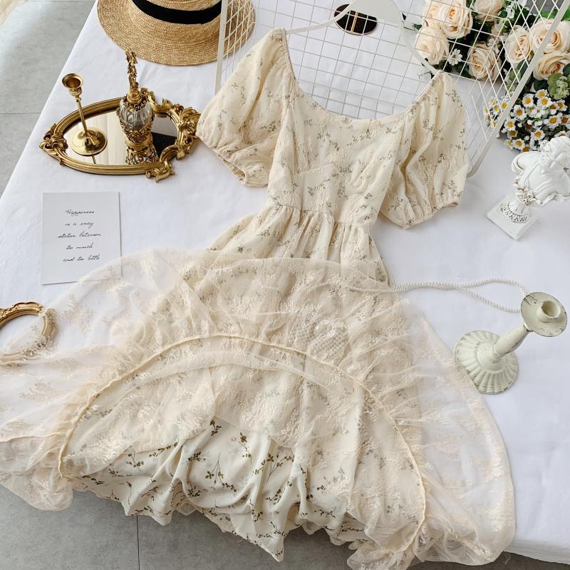 Новые модные женские платья французская элегантность винтажное кружевное платье с высокой талией для похудения Цветочное платье