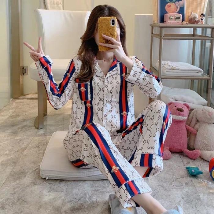2020 Women's Pajamas Pajama Pijamas  Silk Ice Silk Pajamas Women May Outer Wear Small Fragrant Summer Leisure Clothing Suit