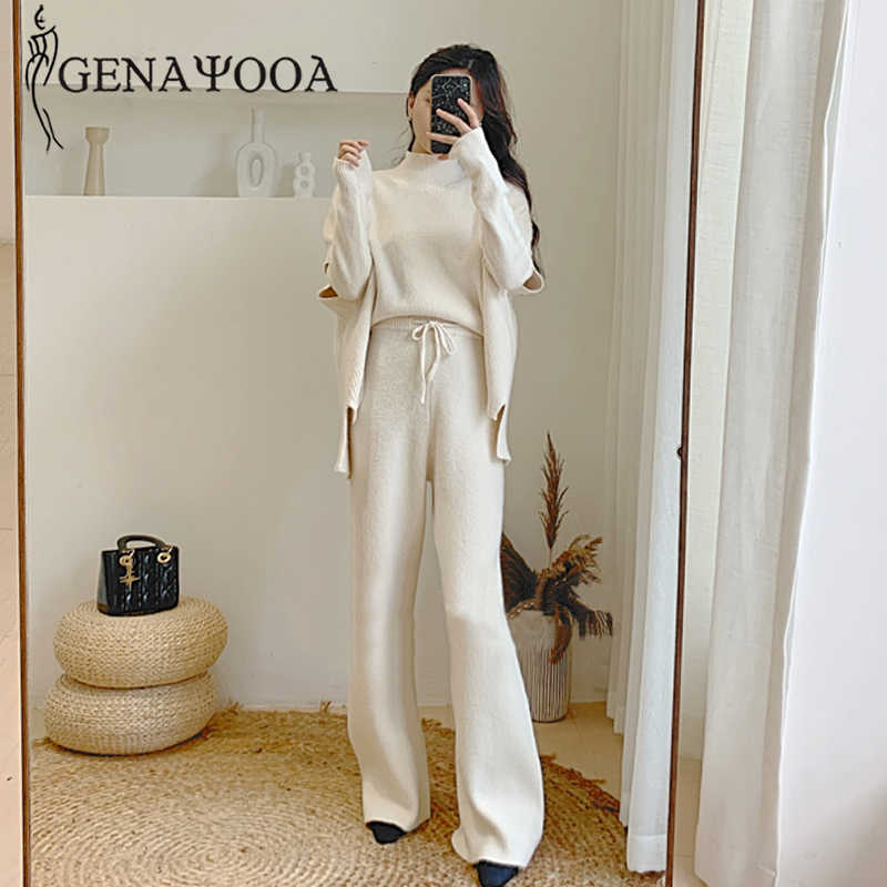 Genayooa Knitted 3 Piece Set Sweater Pants Woman 2019 Knitting Wide Leg Pants And Pullover Three Piece Suits Tracksuit Women