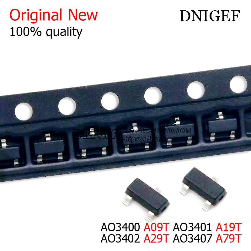 50PCS AO3400 A09T AO3401 A19T AO3402 A29T AO3407 A79T SMD transistor