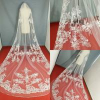 2020 One Layer Wedding Veils 3 Meters Long Cathedral Length Rhinestones Beaded Real Image Tulle Bridal Veil With Comb