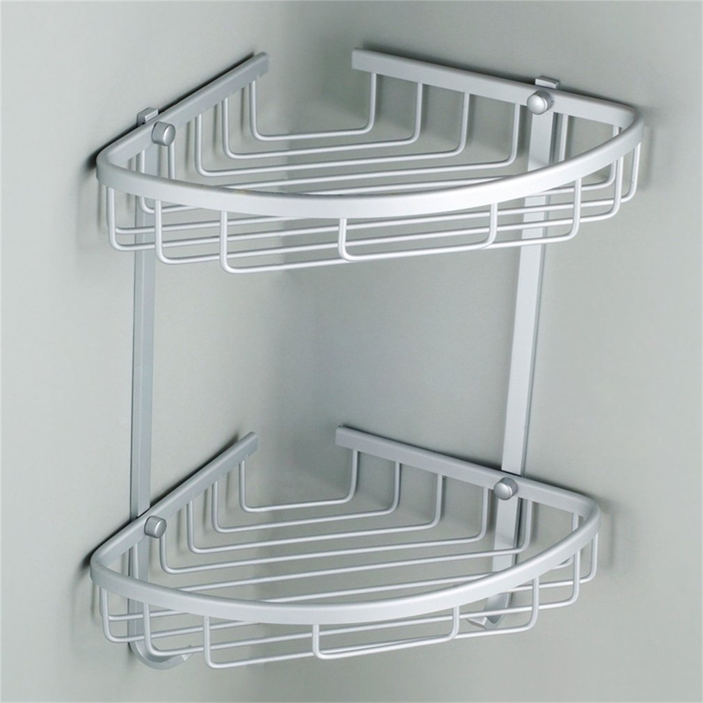 Bathroom Corner Shelf 2 Layer Space Double Tiers Triangle Shower Basket Shampoo Soap Cosmetic Storage Shelves Rack Aluminum