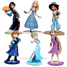 Mulan Rapunzel Cinderella Elsa Anna PVC Princess Action figures anime Collective Children's Toys for children lol funko pop