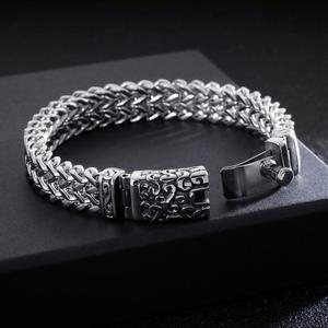 Image 4 - Fongten Bracelet Punk avec crâne, rétro pour hommes, Bracelet en acier inoxydable, breloque argent, Bracelet damitié, large, bijoux pour hommes