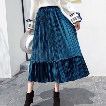 shintimes Vintage Autumn Winter Women Velvet Skirt High Waisted Ladies Elegant Sexy Pleated Skirts Party Female Maxi Skirts darkinlove women gothic skirt butterfly embroideried high waisted sexy lace hem maxi dovetail wrap party skirt