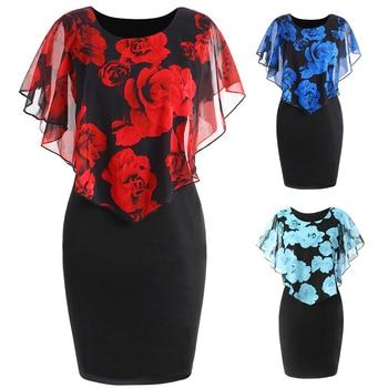 Plus Size Womens Dress Elegant Office Lady Rose Flower Print Cape Bodycon Knee Length Dress 2