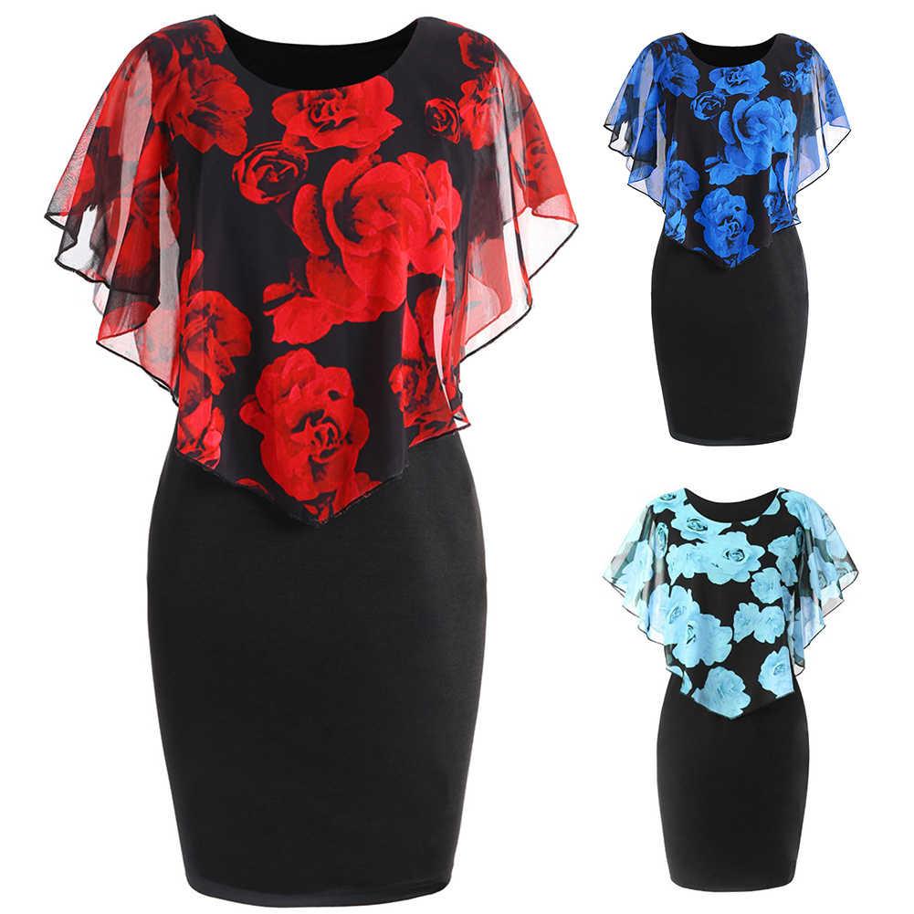 בתוספת גודל נשים שמלה אלגנטי משרד ליידי רוז פרח הדפסת גלימת Bodycon הברך אורך שמלה