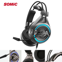 SOMiC A6 USB Gaming Headphones Noise Cancelling Game Headset with Rotatable Mic LED Wired Gamer Headphone For PC PS4
